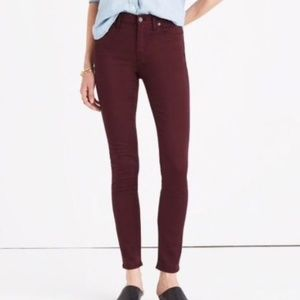 MADEWELL 9 Inch High Rise Mom Jeans Burgundy Sz 28